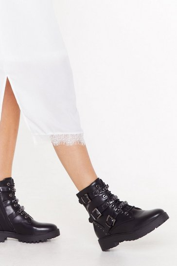 Black Chain-ge Your Attitude Faux Leather Biker Boots