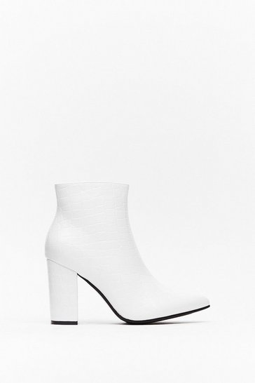 White Point Out Faux Leather Ankle Boots