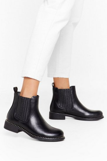 Black What Stud You Do Faux Leather Chelsea Boots