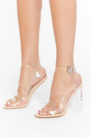 Womens Nude We're in the Clear Strappy Perspex Heels