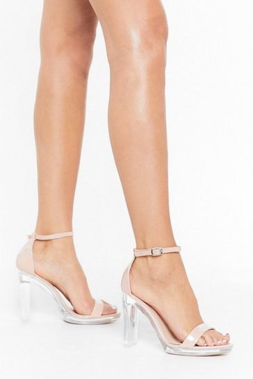 Womens Nude Clear Your Mind Platform Heels