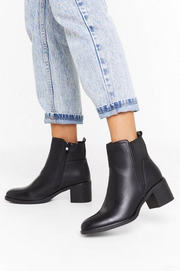Womens Black Boot Your Shot Faux Leather Chelsea Boots
