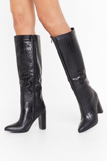 Womens Black Croc Our World Faux Leather Knee-High Boots