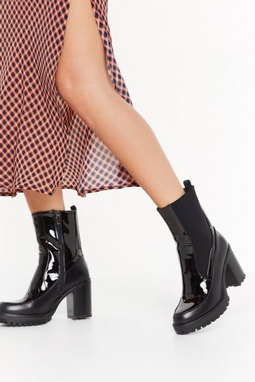 Womens Black How High Patent Heeled Boots