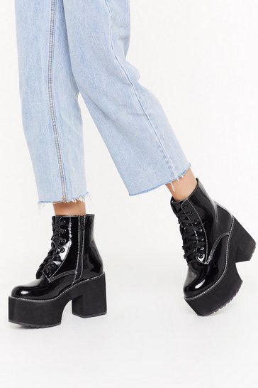 Womens Black Go Big Lace-Up Platform Boots