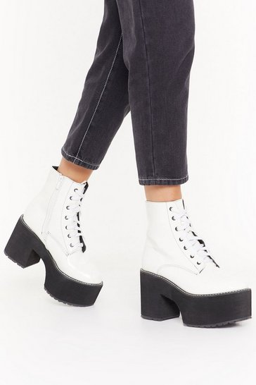 Womens White Go Big Lace-Up Platform Boots
