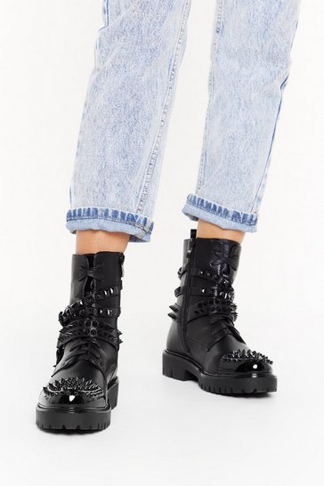 Womens Black When the Time is Spike Biker Boots
