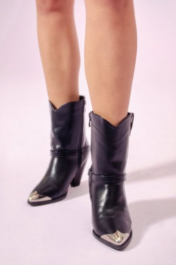 Womens Black Get It Toe-gether Faux Leather Western Boots