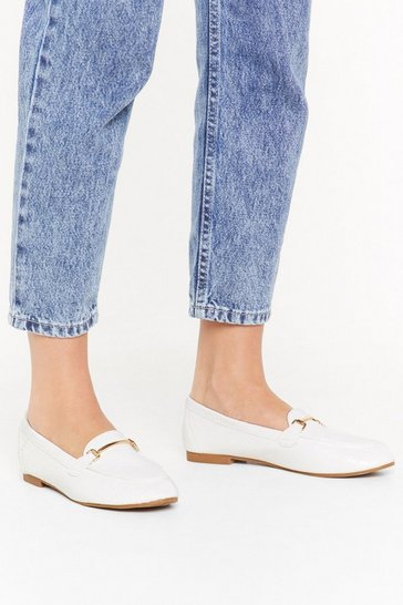 Womens White Get a Loaf of These Faux Leather Loafers