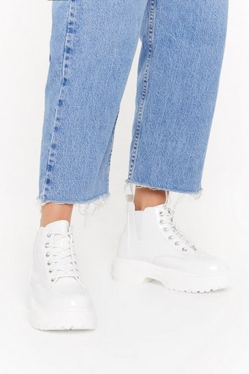Womens White Faux Patent PU Chunky Boot
