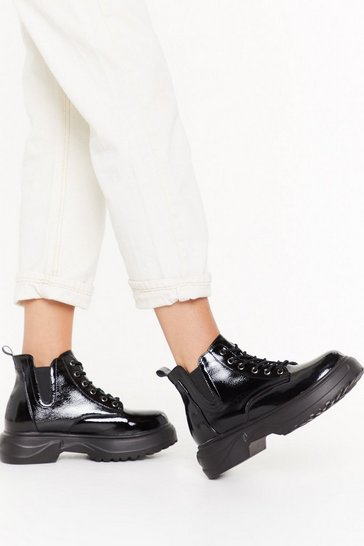 Womens Black Faux Patent Leather Chunky Boot