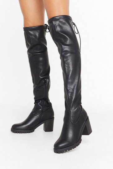 Womens Black Lemme See You Strut Faux Leather Over-the-Knee Boots