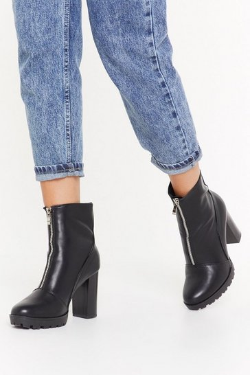 Womens Black Faux Leather Zip Front Heeled Boots
