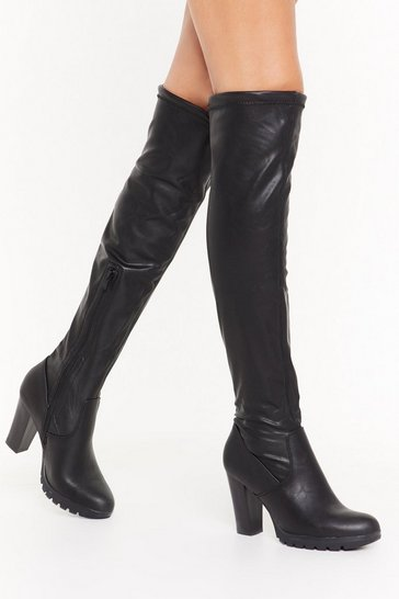 Womens Black Let's Walk It Over-the-Knee Faux Leather Boots