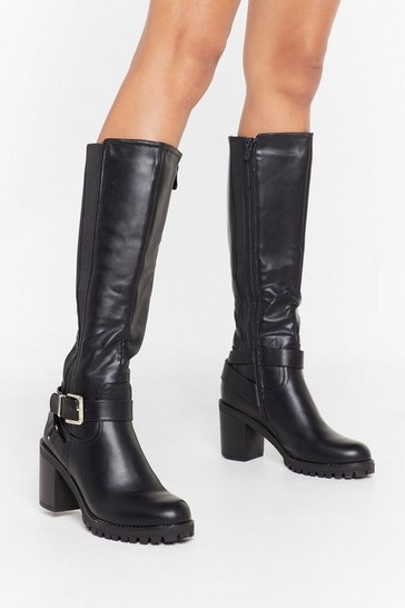 Black We Don't Give a Buck-le Faux Leather Knee-High Boots