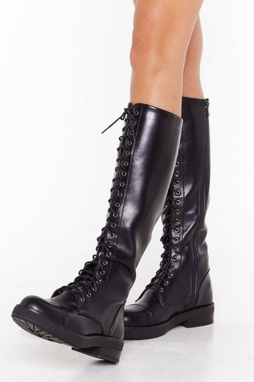 Womens Black PU Lace Up Knee High Biker Boot