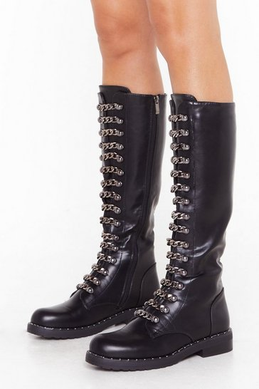 Black Chain Lace Knee-High Boots