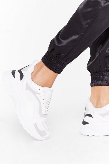 Womens White Running Back to You Chunky Sneakers