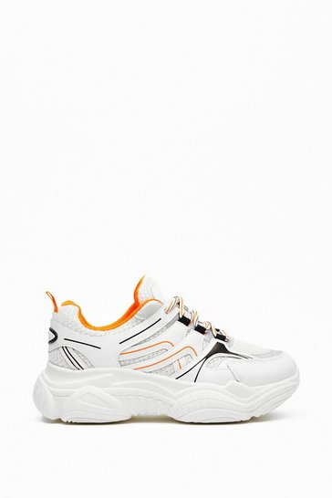 Womens Orange Run Away with Me Chunky Sneakers