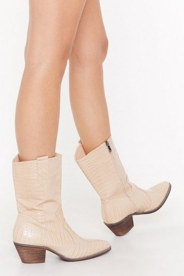 Womens Beige Stomp in Croc Western Boots