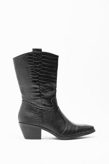 Womens Black Stomp in Croc Western Boots
