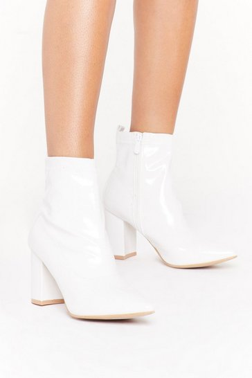 Womens White Point Me to the Nearest Bar Faux Leather Boots