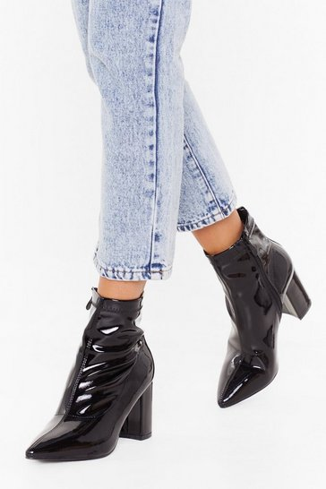 Womens Black Patent Mid Block Heel Sock Boot
