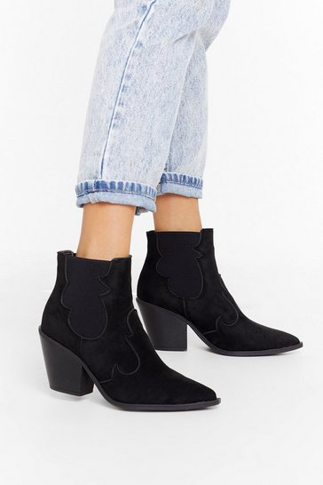 Womens Black Point Me in the West Direction Faux Suede Boots