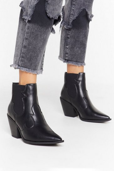Womens Black You Deserve the West Faux Leather Ankle Boots