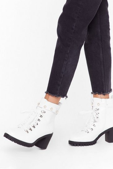Womens White Pearl Strap Hiker Boot