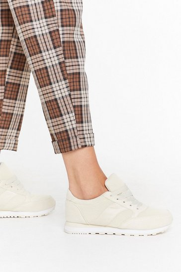 Womens Beige Keep 'Em On Their Toes Lace-Up Sneakers