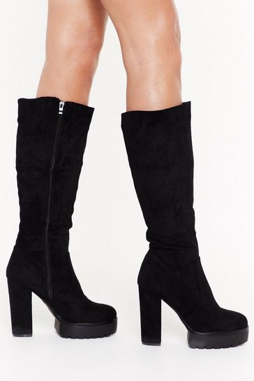 Womens Black Faux Suede Platform Cleated Knee Boots