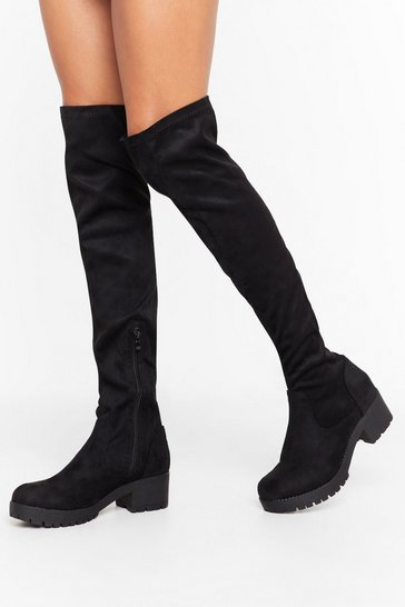 Black Tell Me When It's Over-the-Knee Faux Suede Boots