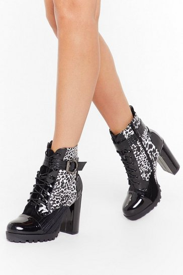 Womens Black Hey Cheetah Heeled Hiker Boots