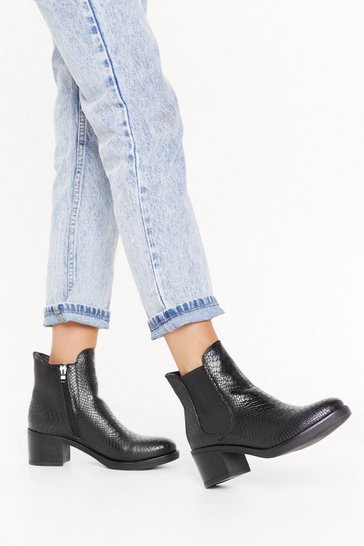 Womens Black Snake the Stage Faux Leather Chelsea Boots
