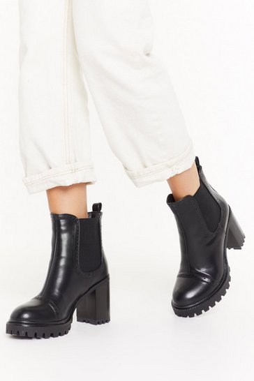 Womens Black Cleated heeled brogue chelsea boots