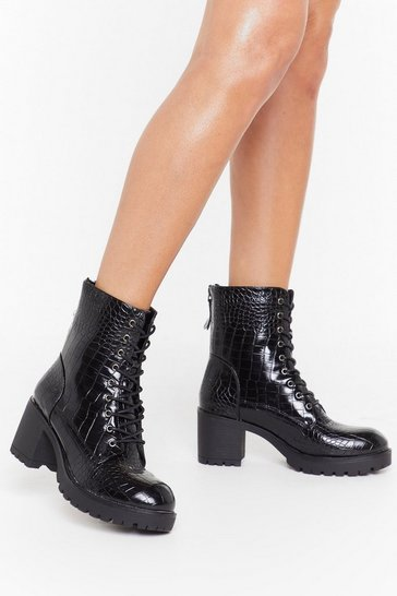 Womens Black A Load of Croc Faux Leather Lace-Up Boots