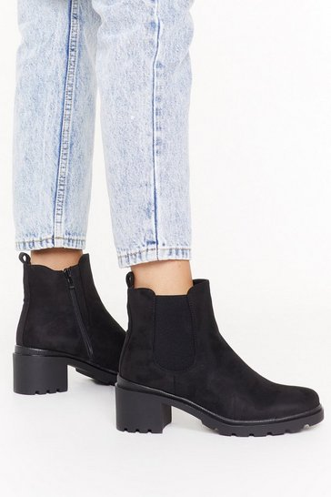 Womens Black Ankle-ing for Something Faux Suede Boots