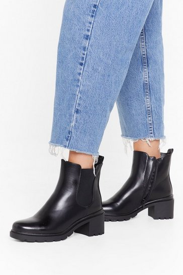 Womens Black Faux leather cleated 2 sole chelsea boots