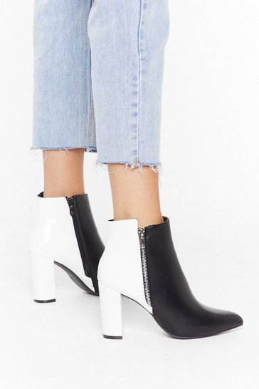 Womens White Split It Two-Tone Heeled Boots