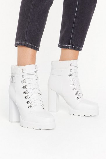 Womens White Heeled faux leather d ring hiker boots