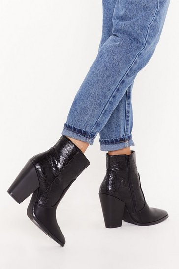Black Put Your West Foot Forward Croc Ankle Boots
