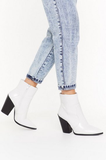 Womens White On Point Heeled Western Boots