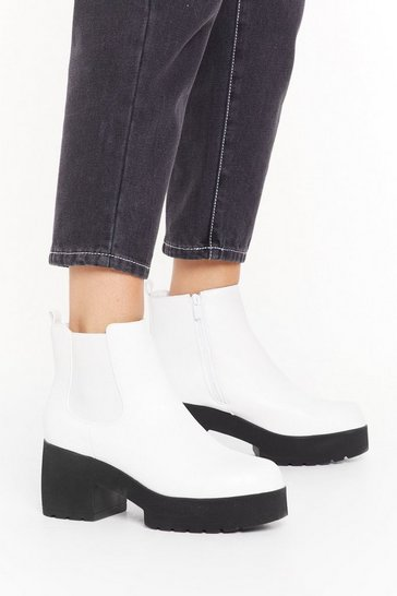 Womens White On the Block Heel Chelsea Boots