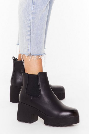 Womens Black Cleated platform chelsea boots