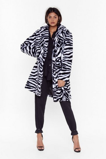 Womens White Unleash the Tiger Faux Fur Longline Coat