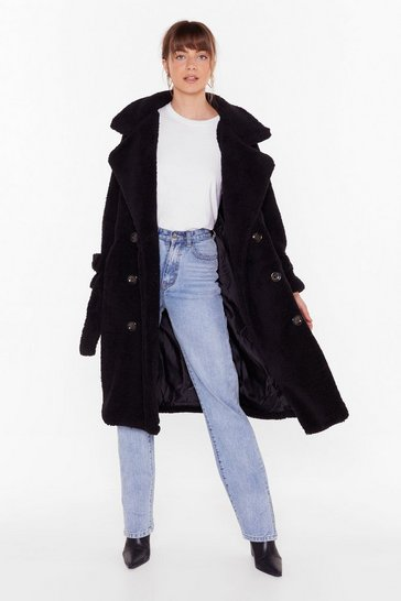 Womens Black Are You Teddy Fur It Faux Shearling Longline Coat