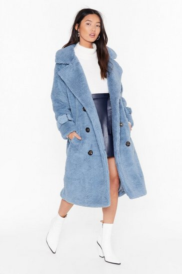 Blue Faux Shearling Longline Coat with Button Closures
