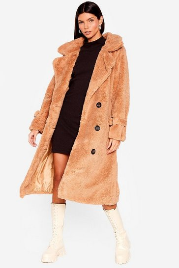 Camel Faux Shearling Longline Coat with Button Closures