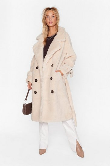 Cream Are You Teddy Fur It Faux Shearling Longline Coat